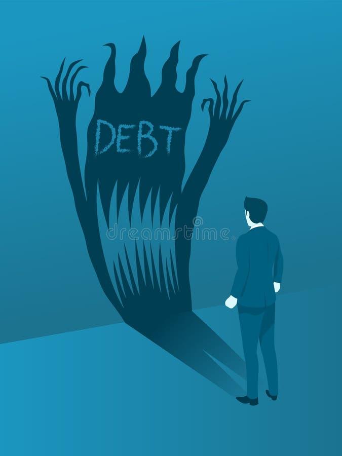 Hombre de negocios Facing el mal de la deuda ilustración del vector