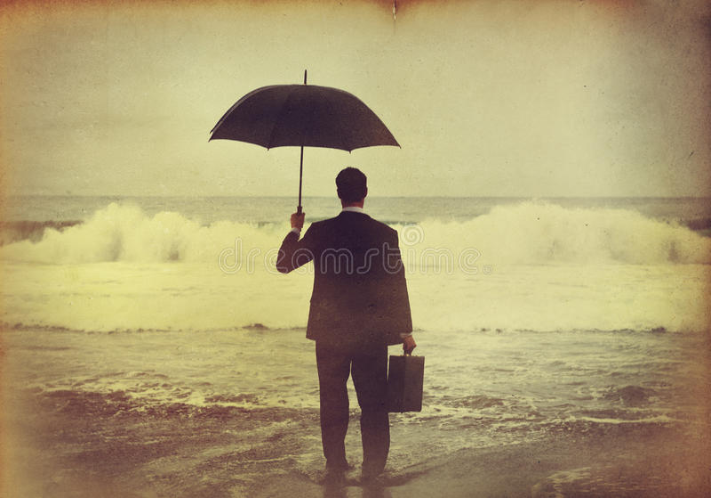 Hombre de negocios Feeling en concepto azul foto de archivo libre de regalías