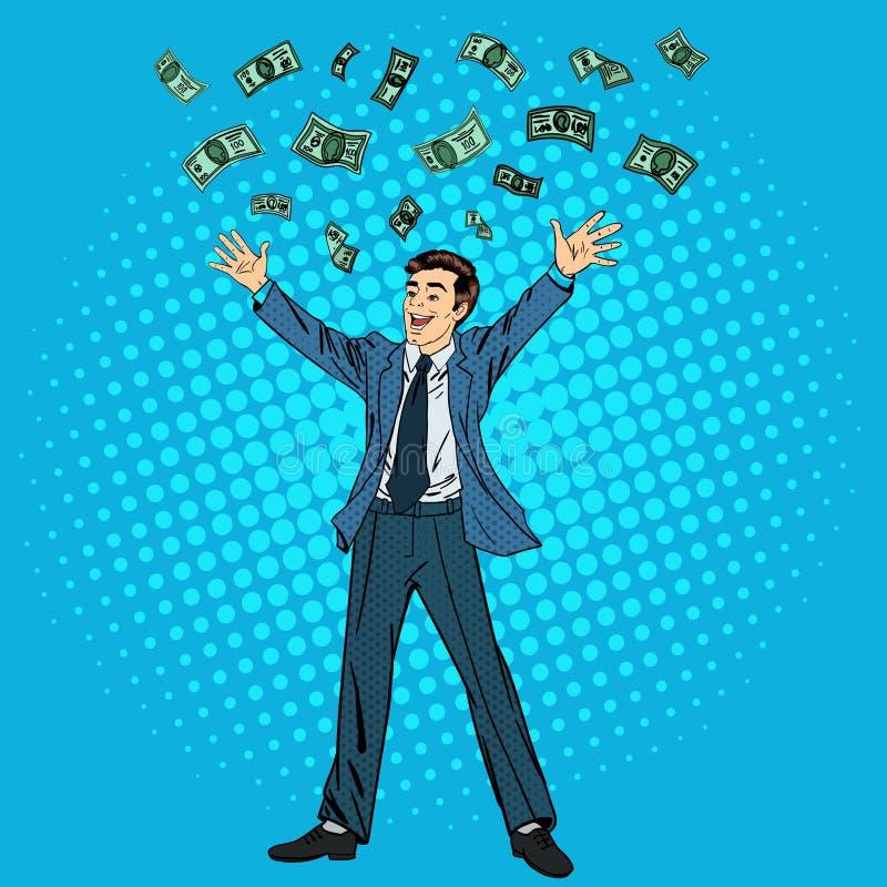 Hombre de negocios feliz Éxito en negocio Hombre de negocios acertado ilustración del vector