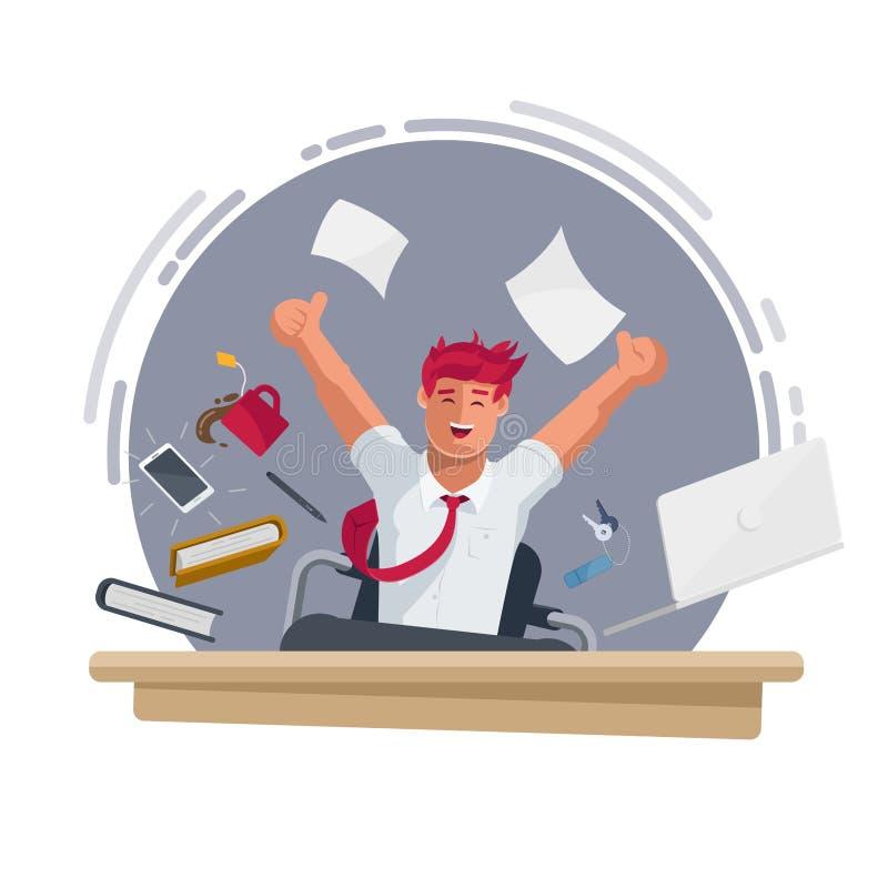 Hombre de negocios feliz acertado que trabaja en la oficina ilustración del vector