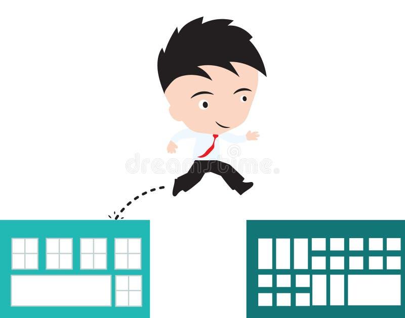 Hombre de negocios feliz al salto sobre el hueco del edificio al concepto del éxito, presentado en forma ilustración del vector