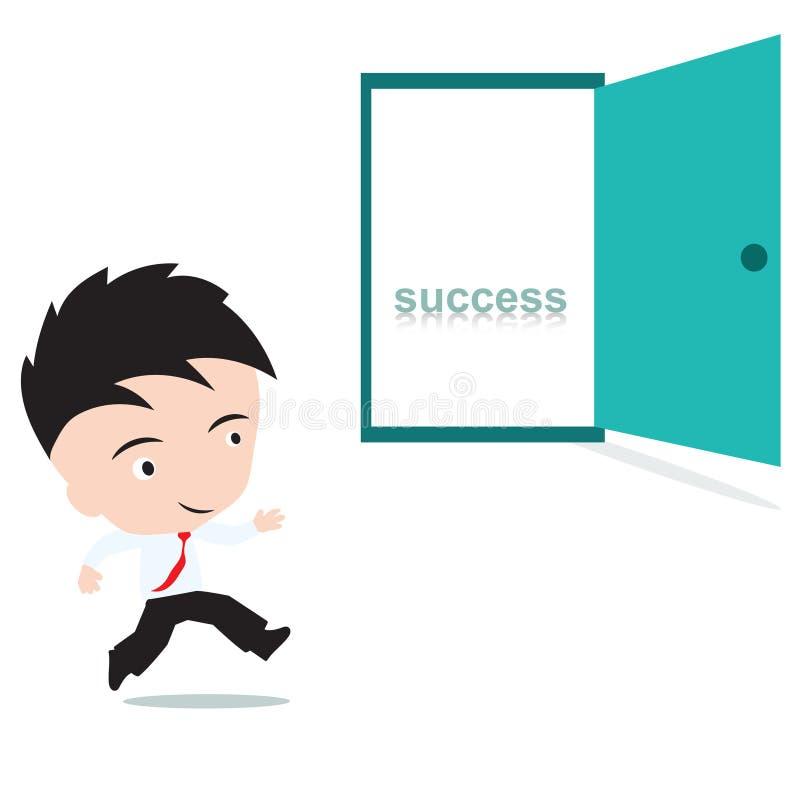 Hombre de negocios feliz a caminar a la puerta abierta con éxito de la palabra dentro, presentado en forma stock de ilustración