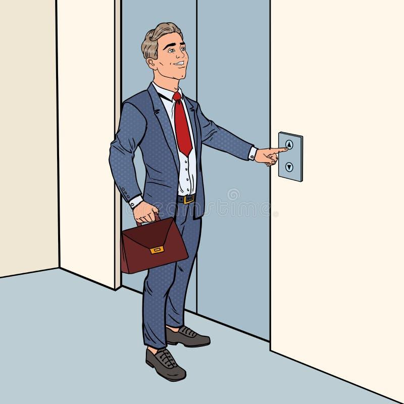 Hombre de negocios feliz con la cartera que presiona el botón del elevador Ejemplo del arte pop stock de ilustración