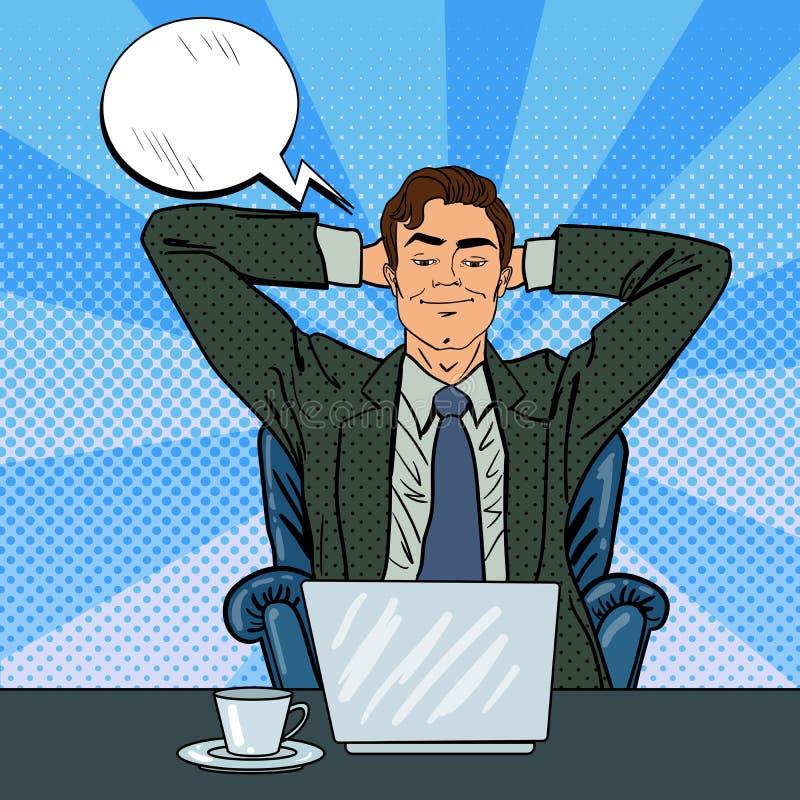 Hombre de negocios feliz con la computadora portátil Oficinista que sueña sobre algo ilustración del vector