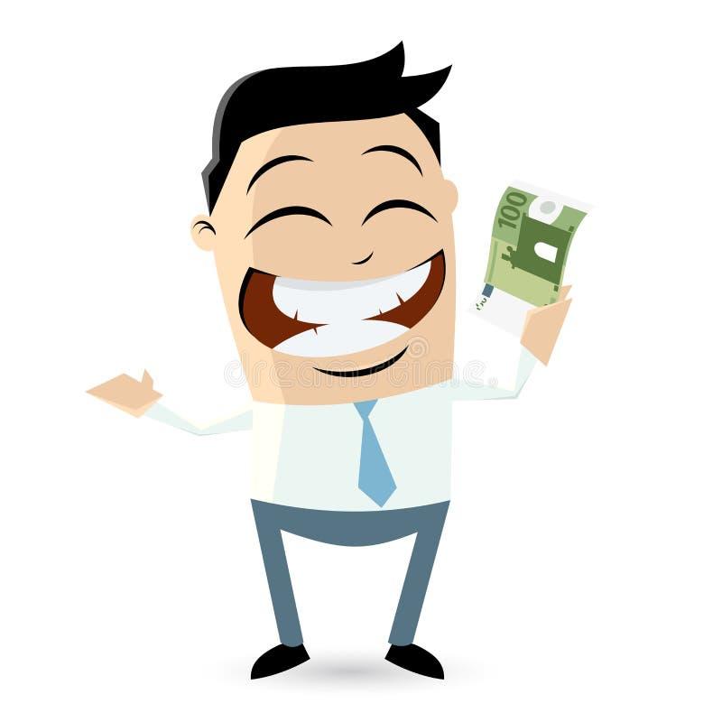 Hombre de negocios feliz con la cuenta euro ilustración del vector