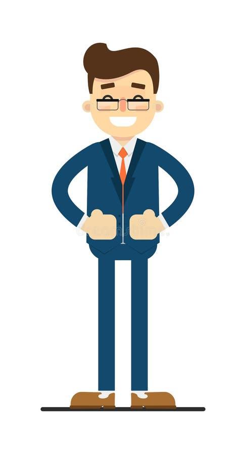 Hombre de negocios feliz con las manos en gesto de la cintura libre illustration