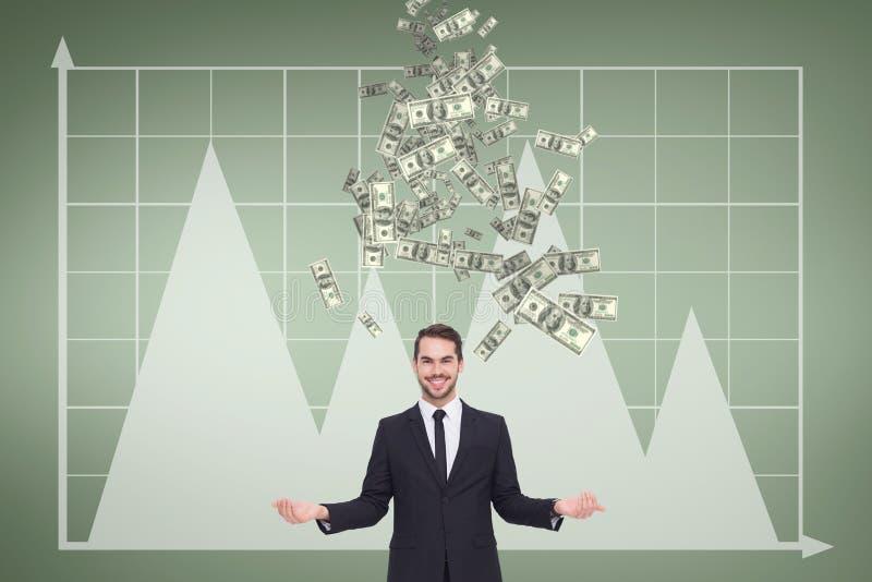 Hombre de negocios feliz con lluvia del dinero contra fondo verde con los gráficos fotos de archivo libres de regalías