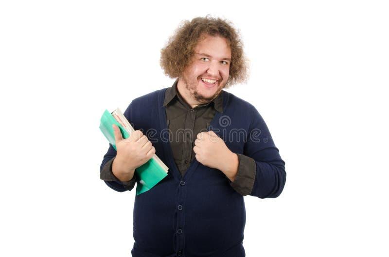 Hombre de negocios feliz con los documentos Sonrisa contenta del hombre Documentos y éxito Fondo blanco fotografía de archivo libre de regalías