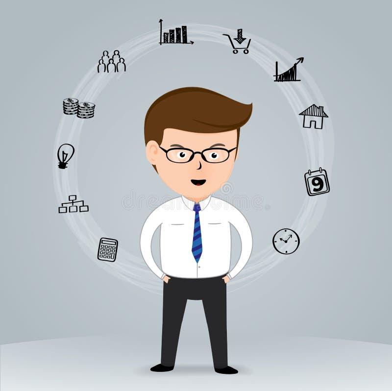 Hombre de negocios feliz con los iconos dibujados mano del negocio ilustración del vector