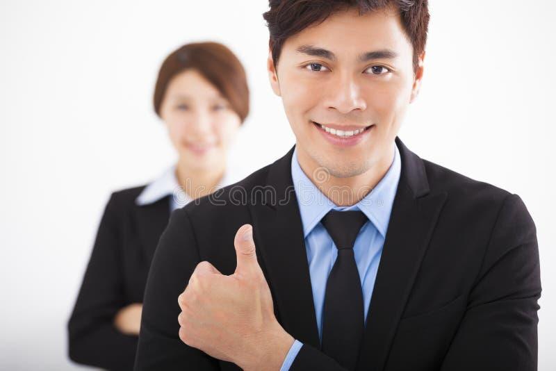 Hombre de negocios feliz con los pulgares para arriba fotografía de archivo libre de regalías