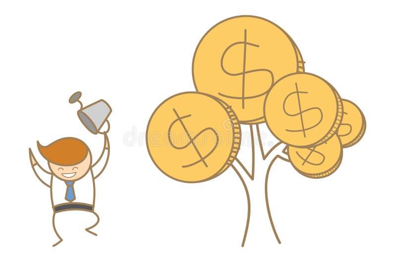 Hombre de negocios feliz con su árbol del dinero stock de ilustración