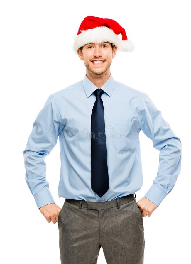 Hombre de negocios feliz emocionado sobre aislante del retrato de la prima de la Navidad imagenes de archivo