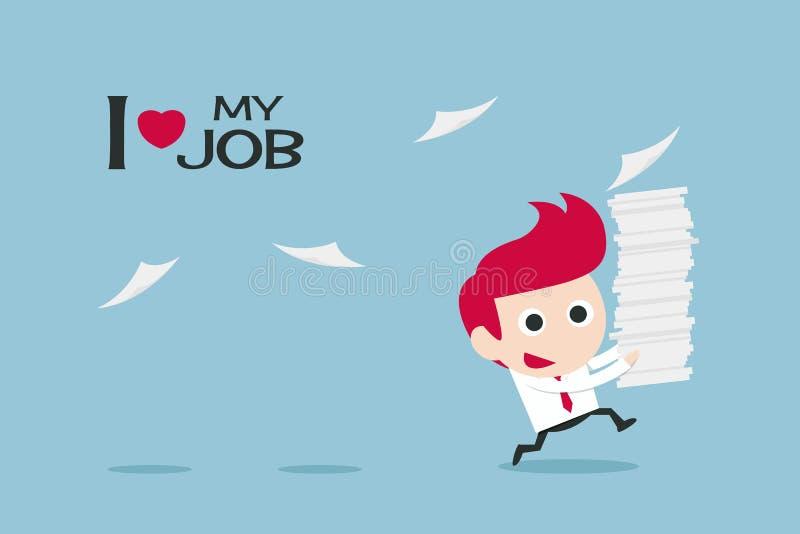 Hombre de negocios feliz en trabajo ilustración del vector