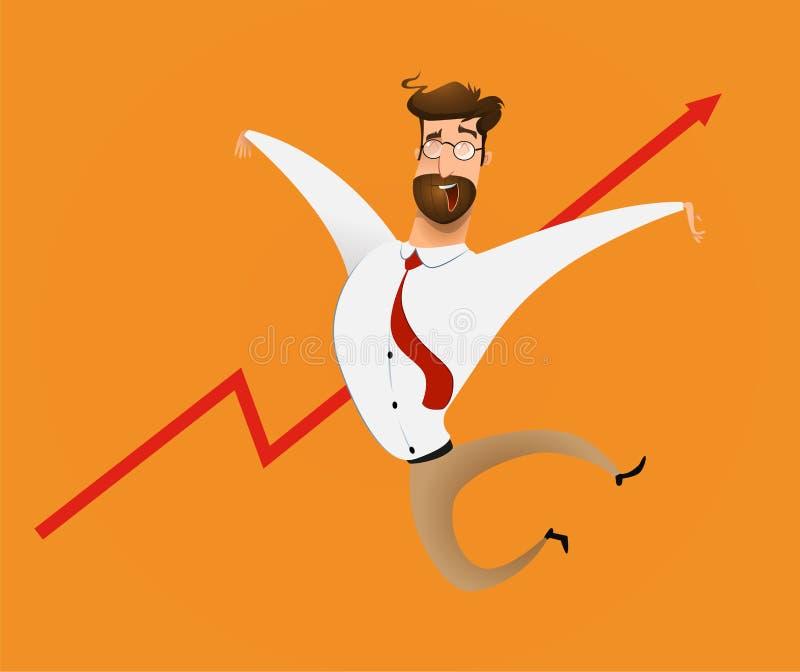Hombre de negocios feliz de la moneda del crecimiento stock de ilustración