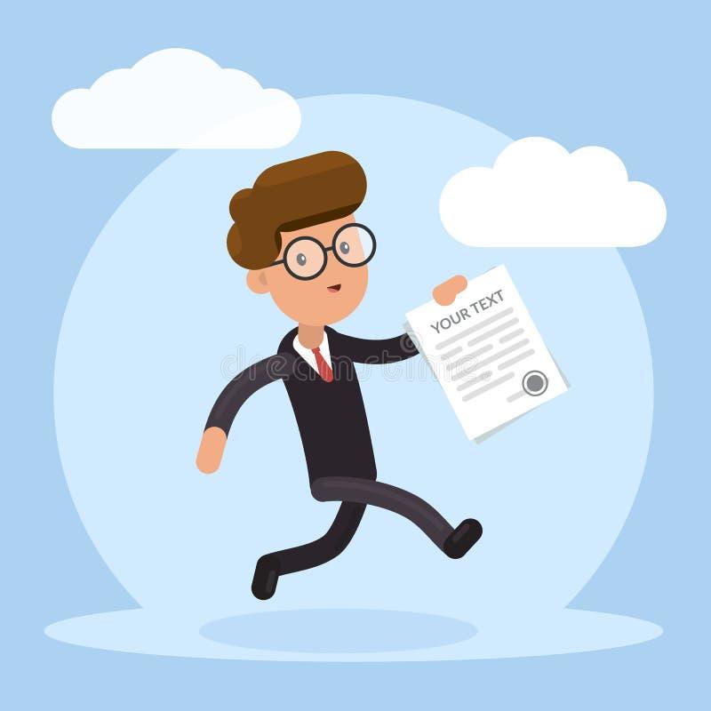 Hombre de negocios feliz que corre con el contrato en su mano Concepto de asunto acertado Ejemplo plano del vector aislado ilustración del vector