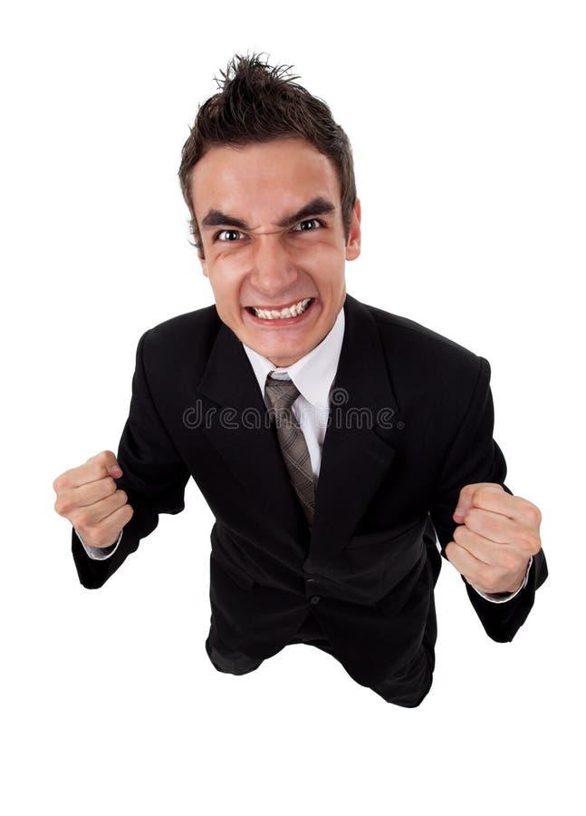 Hombre de negocios feliz que expresa concepto del éxito imagenes de archivo