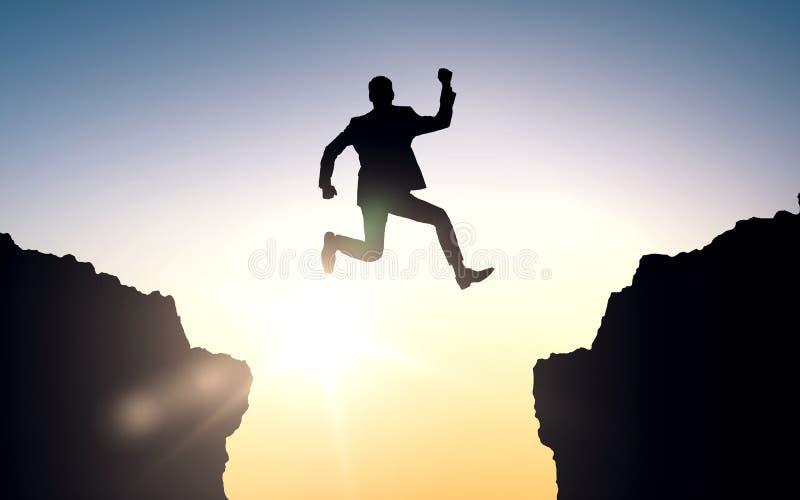 Hombre de negocios feliz que salta entre las rocas ilustración del vector