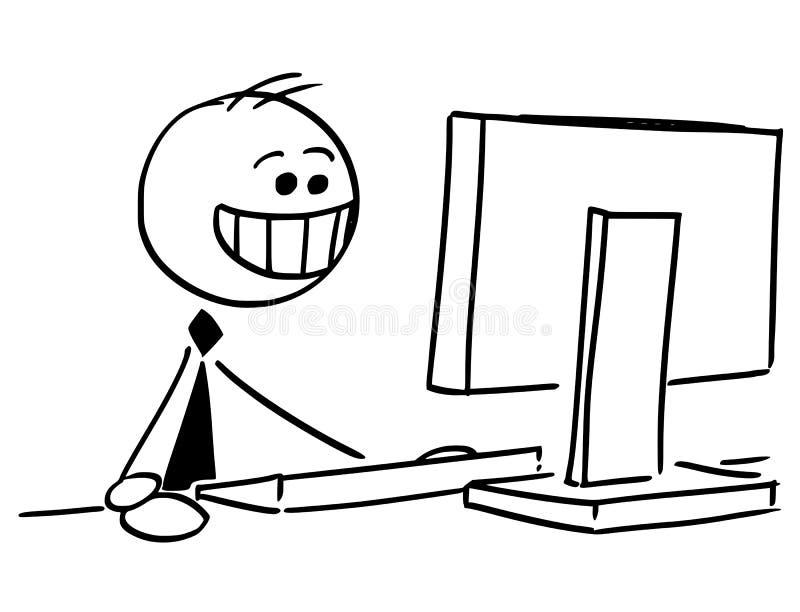 Hombre de negocios feliz Smiling Working en el ordenador libre illustration