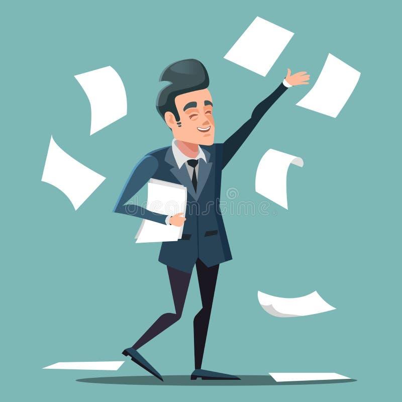Hombre de negocios feliz Throwing Papers en la oficina ilustración del vector
