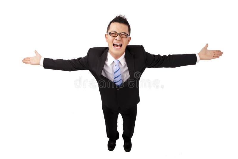 Hombre de negocios feliz y brazos abiertos fotografía de archivo
