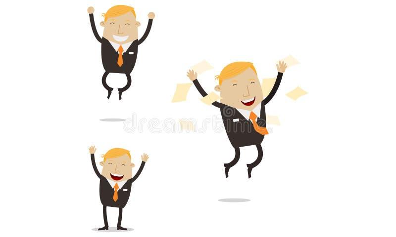 Hombre de negocios feliz y libre stock de ilustración