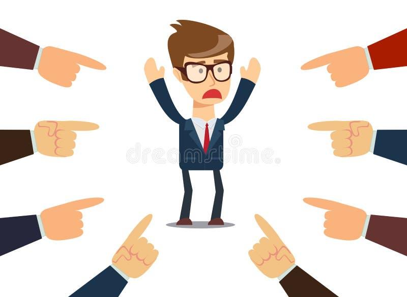 Hombre de negocios With Fingers Pointing en él stock de ilustración