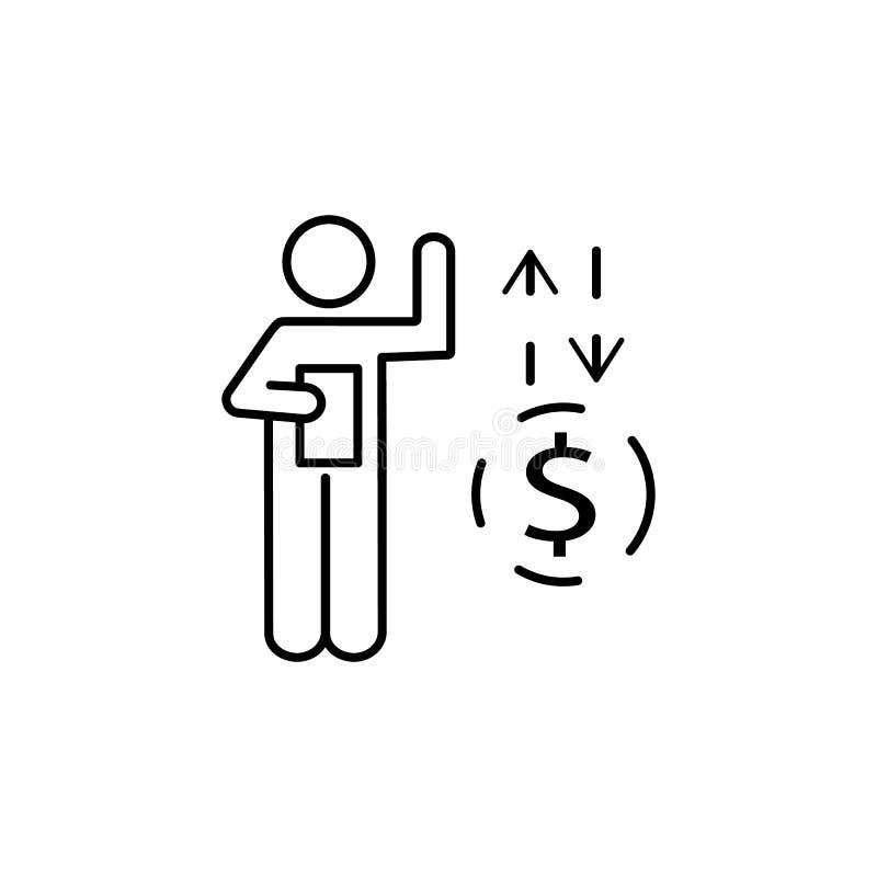 Hombre de negocios, flujo de liquidez, icono del intercambio Elemento del icono del negocio ilustración del vector