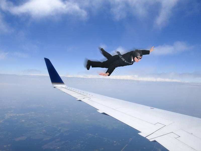 Hombre de negocios Fly Business Class, viaje Jet Plane imagenes de archivo