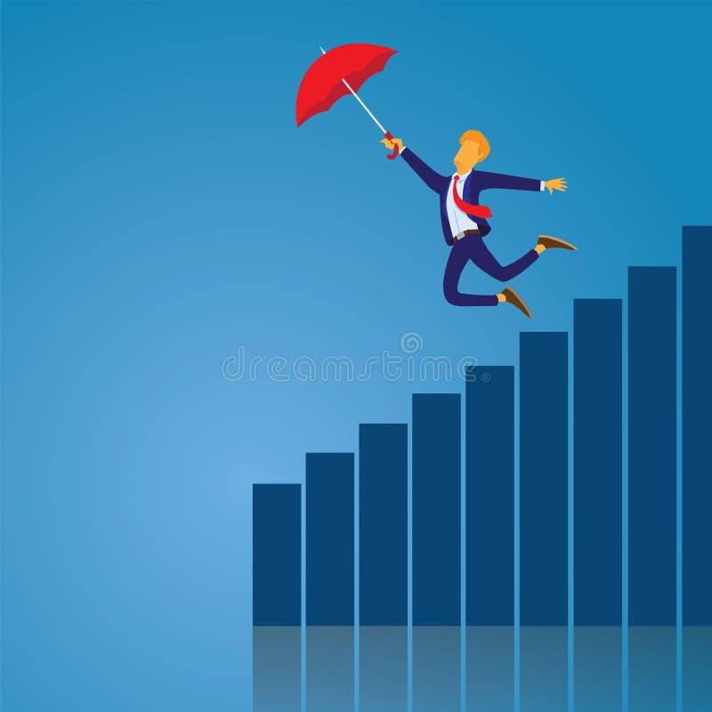 Hombre de negocios Flying With Umbrella libre illustration