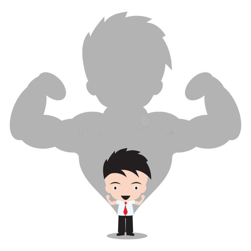 Hombre de negocios fuerte en sombra en el fondo blanco, ejemplo del vector en diseño plano libre illustration