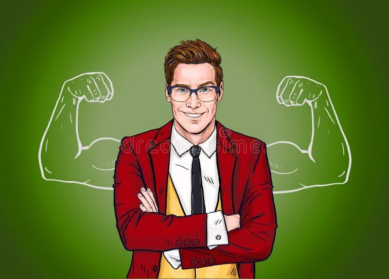 Hombre de negocios fuerte en vidrios en estilo cómico éxito Trabajador libre illustration