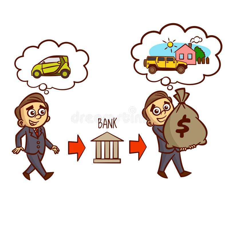 Hombre de negocios Gets una hipoteca del banco libre illustration