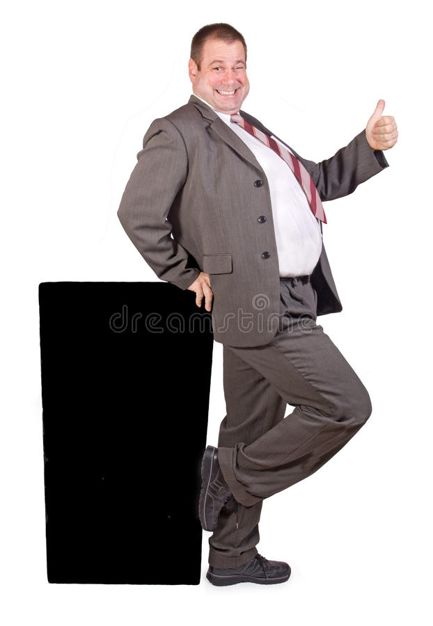 Hombre de negocios gordo alegre imagen de archivo