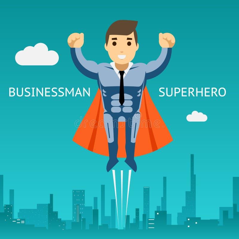 Hombre de negocios Graphic Design del super héroe de Cartooned stock de ilustración