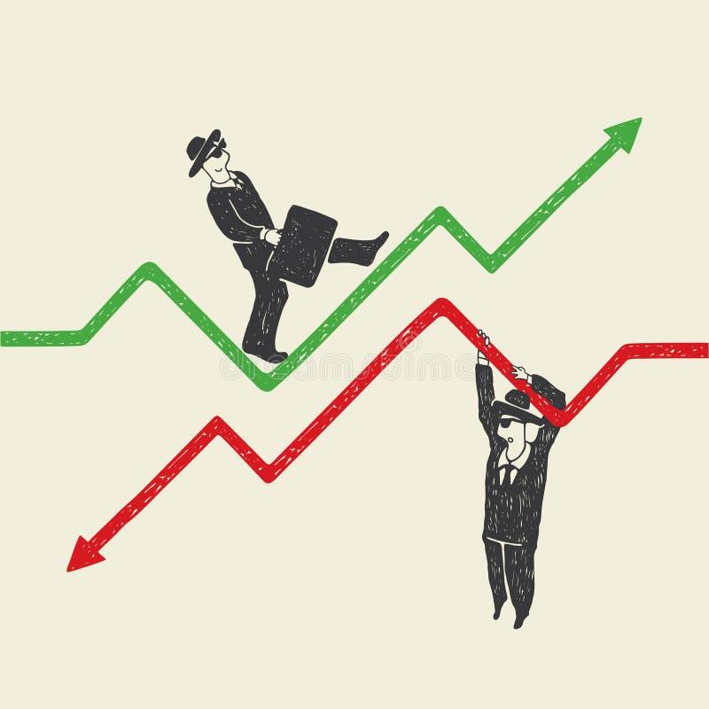 Hombre de negocios hacia arriba y hacia abajo stock de ilustración