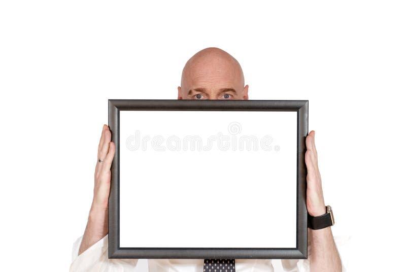 Hombre de negocios, haciendo publicidad de la tarjeta imágenes de archivo libres de regalías