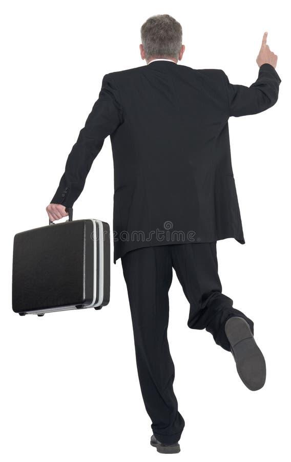 Hombre de negocios Hail Taxi, funcionamiento, tren de cogida, aislado fotografía de archivo