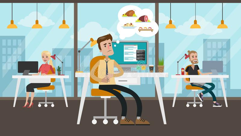Hombre de negocios hambriento en la oficina libre illustration