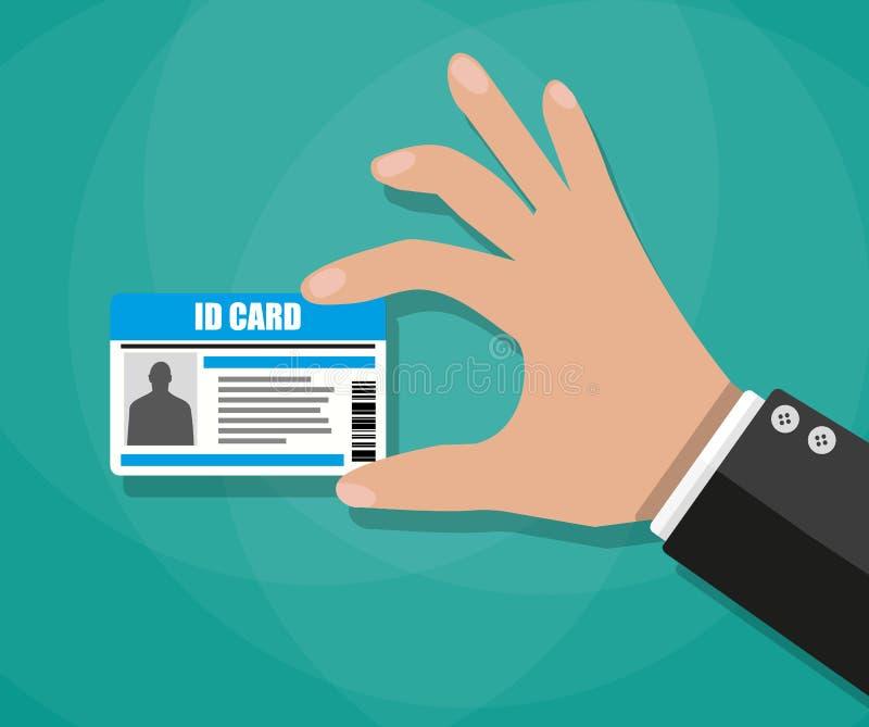 Hombre de negocios Hand que sostiene la tarjeta de la identificación libre illustration