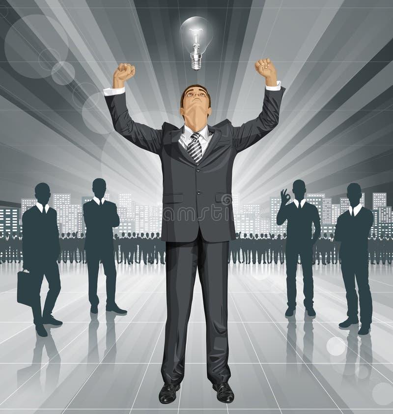 Hombre de negocios With Hands Up del vector stock de ilustración