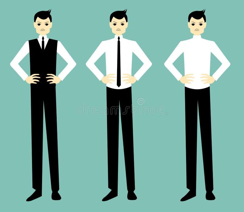 Hombre de negocios hermoso de la historieta enojado libre illustration