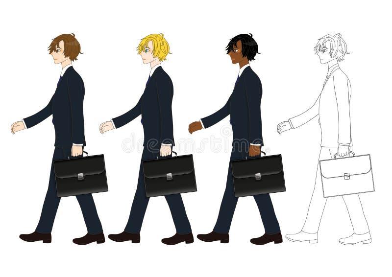 Hombre de negocios hermoso determinado que sostiene una cartera mientras que camina Vista lateral Ejemplo completo del vector del stock de ilustración