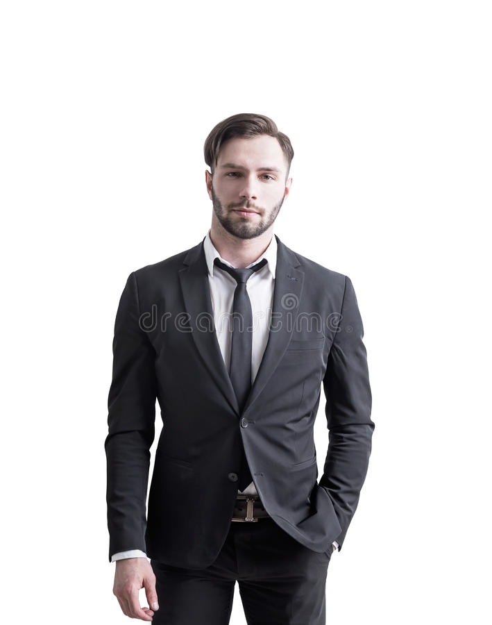 Hombre de negocios hermoso en el fondo blanco foto de archivo libre de regalías