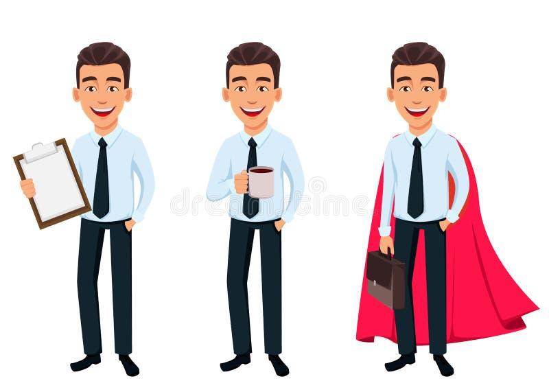 Hombre de negocios hermoso en ropa del estilo de la oficina stock de ilustración