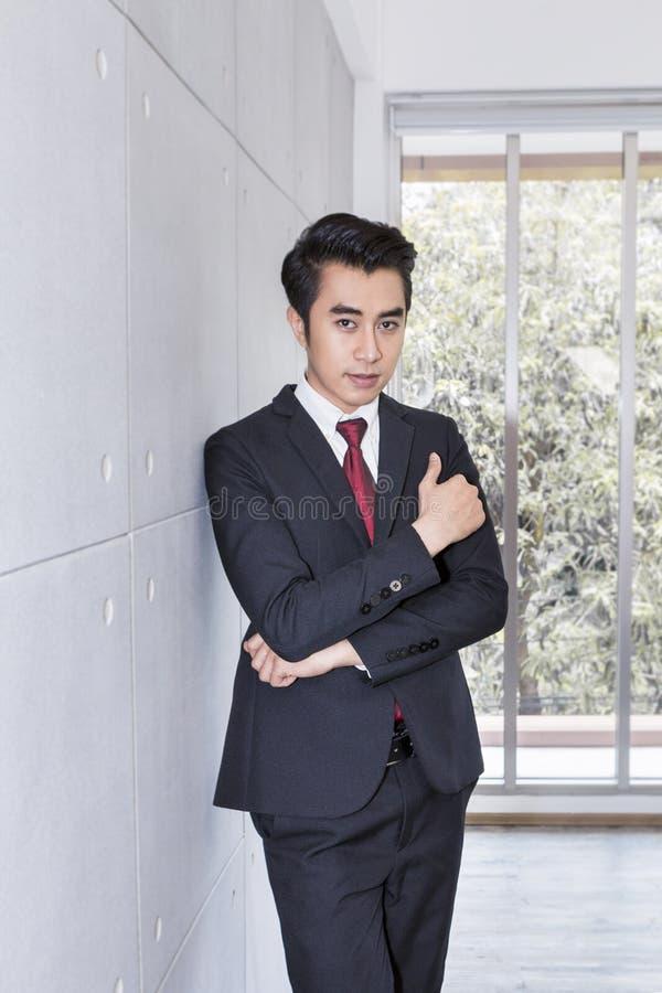 Hombre de negocios hermoso joven que sonríe y elegante en la oficina fotos de archivo