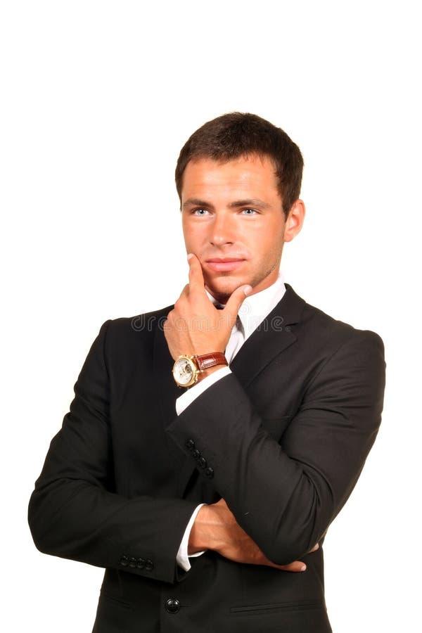 Hombre de negocios hermoso pensativo imagen de archivo libre de regalías