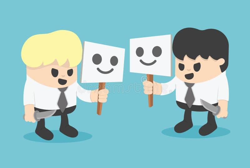 Hombre de negocios Hiding Behind Mask Ejemplo de la historieta del concepto libre illustration