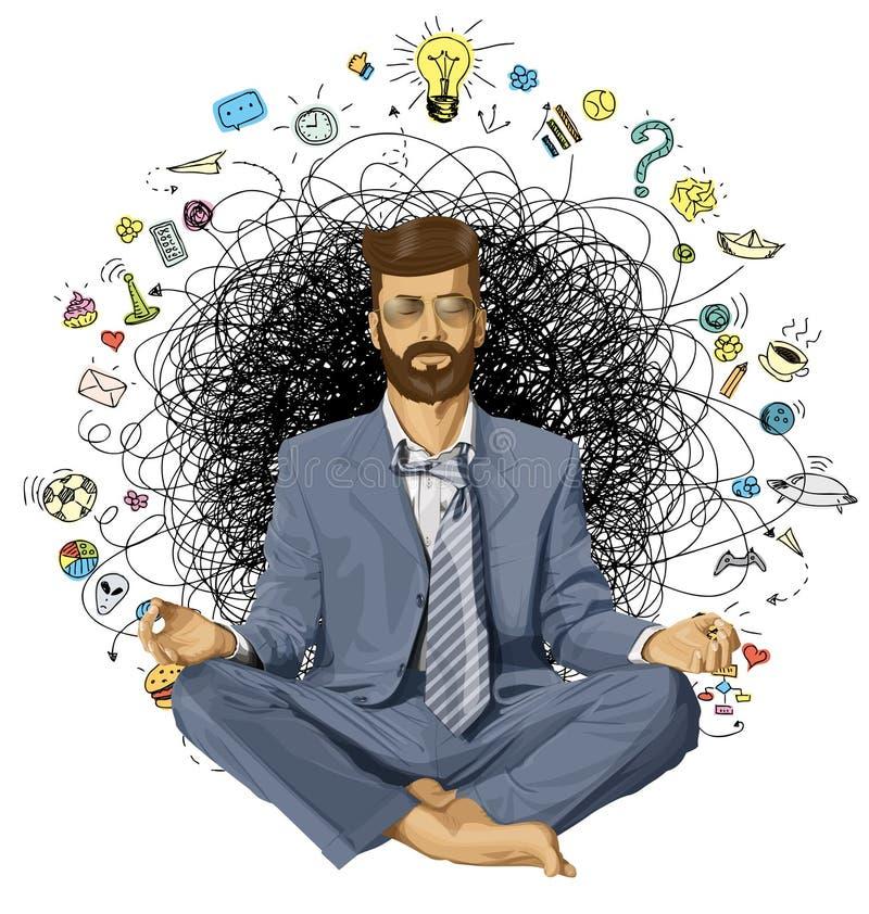 Hombre de negocios Hipster en la ORIGINAL de Lotus Pose Meditating imagen de archivo