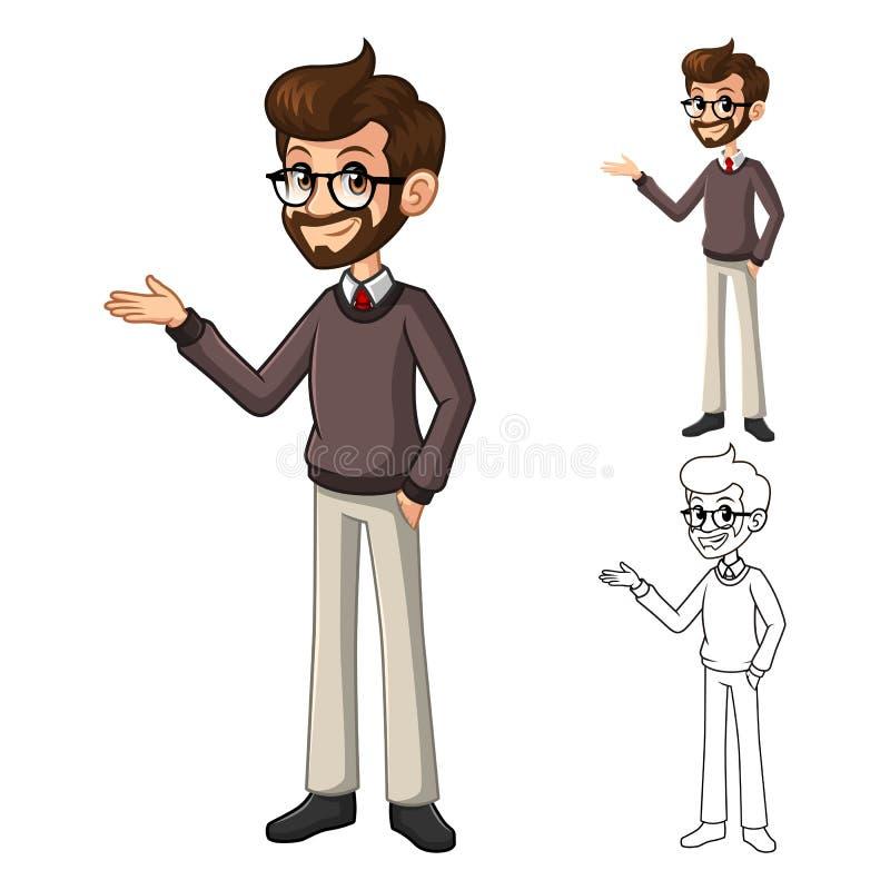 Hombre de negocios Hipster Geek con acoger con satisfacción el personaje de dibujos animados de la actitud de los brazos ilustración del vector