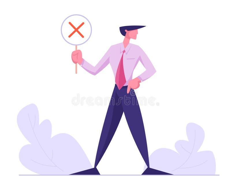 Hombre de negocios Holding Banner con la Cruz Roja, ningún símbolo, votando, elección, decisión de la política, contestación nega ilustración del vector